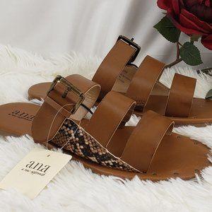 a.n.a. Flat Brown Sandals NIB